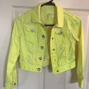 Girls Jean jacket in fluorescent yellow